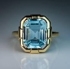 art deco vintage aquamarine gold ring antique jewelry vintage