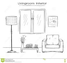 sketchy color illustration of bedroom interior vector hand drawi