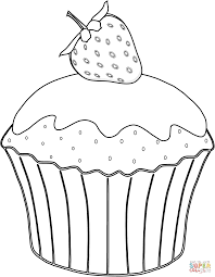 muffin with strawberry coloring page free printable coloring pages