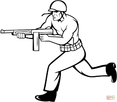 drawn gun army soldier pencil and in color drawn gun army soldier
