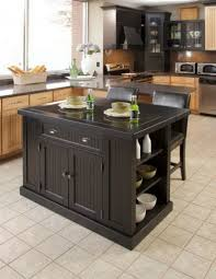 Counter Kitchen Design Appliances Portable Wooden Kitchen Island With Black Lather