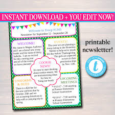 editable newsletter template instant