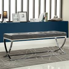 monarch 48 in metal bench with leather cushion black chrome