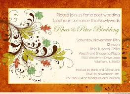 luncheon invitation post wedding luncheon invitation fall foliage burnt orange