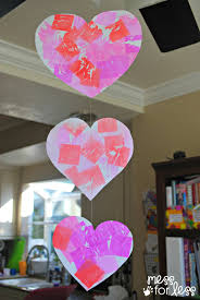 valentine u0027s day mobile with tissue paper dyed hearts mess for less