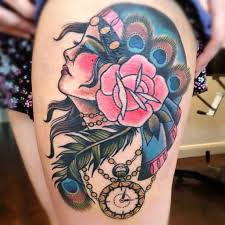 traditional with beautiful flower tattoo design image make on