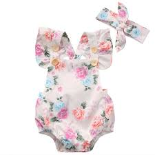Lilly Pulitzer Baby Clothes 2017 Summer Baby Girls Clothes Floral Baby Bodysuit Headband