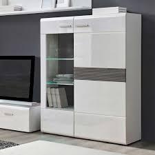 Wohnzimmerschrank Highboard Wohnzimmervitrine Yennica In Weiß Hochglanz Wohnen De Vitrine