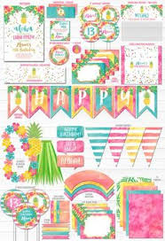 pineapple luau perimeter free printable birthday invitation