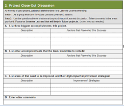 lessons learned project management template 28 images project