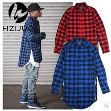 Flannel Shirts Hzijue Blue Scottish Plaid Sleeve Flannel Shirt