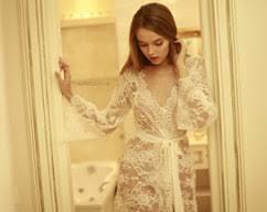 Lingerie Honeymoon Lace Trimmed Tulle Bridal Robe F22 Lingerie By Apilat On Zibbet