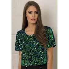 sequin sheer back cropped top