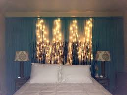 diy curtain u0026 string lights behind headboard on wall instead of