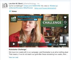 Challenge Vimeo Are You Up For Our Kickstarter Challenge Pioneers In Skirts