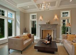 living room tray ceiling and stone fireplace for modern living