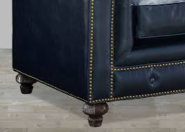Leather Button Sofa Blue Leather Chesterfield Sofa