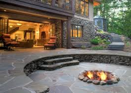 Stone Patio With Fire Pit Exterior Patio With Long Pergolla Backyard Patio Ideas Covered