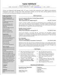 Objectives In Resume Example by Crew Supervisor Resume Example Sample Construction Resumes