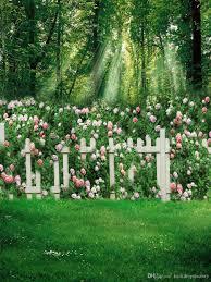 spring flower garden backgrounds green grassland white fence