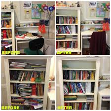 a teen desk and bookshelf needed decluttering and reorganization