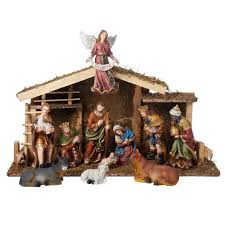 home interiors nativity set kurt s adler 6 5 in nativity set with wooden stable 12 piece
