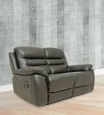 buy two seater motorized recliner sofa in half leather white