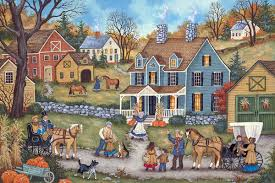 thanksgiving day visitors bonnie white folk painting