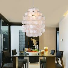 chandeliers for dining room amazon com lightinthebox white shell pendant chandelier chrome