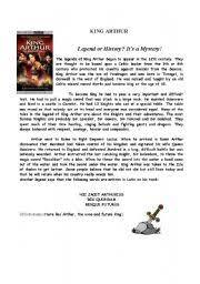 english teaching worksheets king arthur