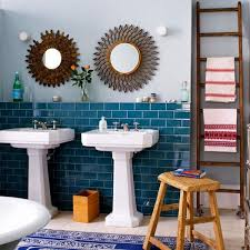 Blue Bathroom Designs Attractive Bright Eclectic And Vivid Bathroom With Blue Wall Tiles And Good Wooden