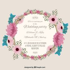 wedding card exles wedding invitation with floral frame vector free