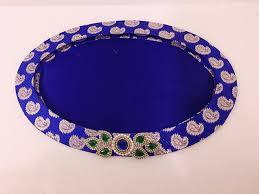 wedding tray indian wedding tray diwali tray decoration tray oval shape brocade