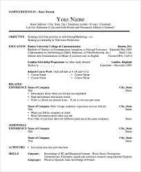 Basic Sample Of Resume by Basic Resume Example 8 Samples In Word Pdf
