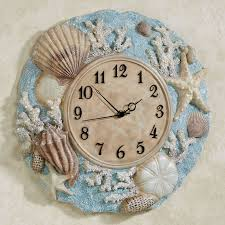 Seashell Bathroom Decor Ideas Nautical Light Blue And White Wall Clock Seashell Wall Decor