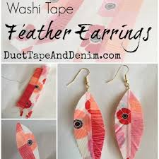 duct earrings washi feather earrings easy diy craft