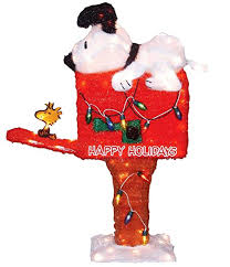 Snoopy Outdoor Christmas Decorations Amazon Com Productworks 36 Inch Pre Lit Peanuts Snoopy On The
