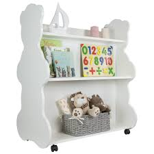 mobile double sided bookcase bear white ace baby furniture