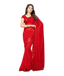 myntra home decor 66 off on tulsi myntra red embroidered pure georgette saree with