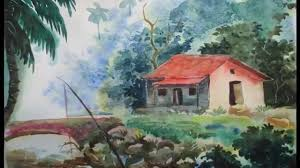 how to draw a house landscape in watercolor episode 2 youtube