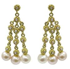 gold chandelier earrings buy cassis 0 68ct diamond pearl gold chandelier earrings new