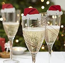 glass decorations card santa hats