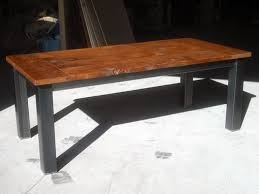 wood table with metal legs hand crafted salvaged fir farm table with metal legs by bdagitz