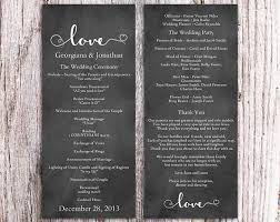 wedding program chalkboard chalkboard wedding program template diy editable word file