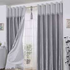 Gray And Red Curtains Decorative Polyester Ready Made Long Curtains In Gray For Living