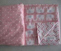 pink and white flannel elephants chevron crib bedding with pillow