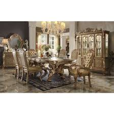 acme dresden double pedestal dining set in gold patina bone for