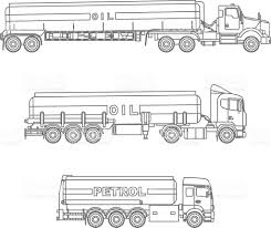 coloring pages set of different gasoline trucks vector