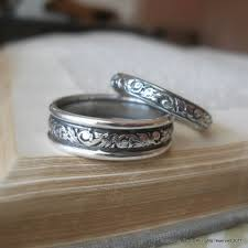 silver wedding bands scroll wedding ring set sterling silver wedding by jorgensenstudio