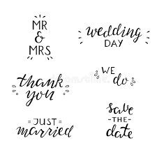 wedding quotes black and white set of wedding quotes lettering illustration stock